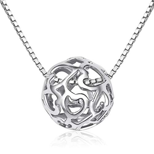 BJGCWY Delicate Ball Heart Elegant 925 Sterling Silver Clavicle Chain Personality Female Necklace