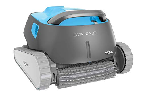 Dolphin Carrera 35 - Robot limpiafondos para Piscinas (Fondo, Paredes y línea de flotación)Incluye Carro de Transporte