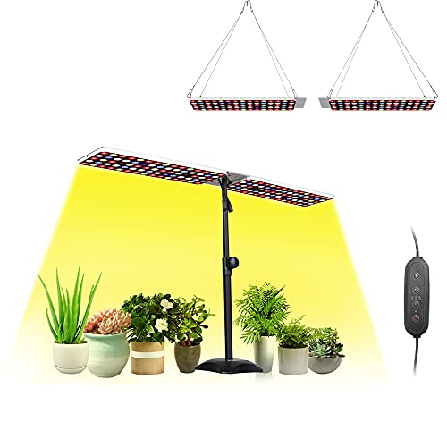 JCBritw 100W LED Grow Light Full Spectrum with UV&IR Desk Table Plant Light with Stand Dimmable with Timer for Indoor Plants