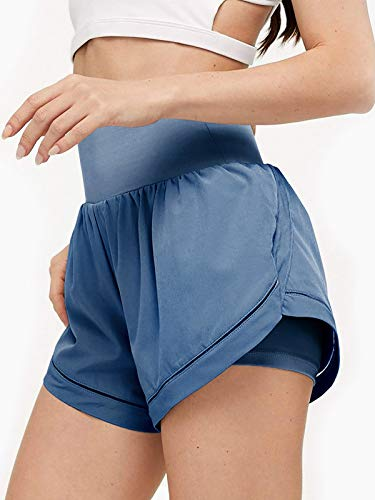 LASLULU Womens Quick-Dry Running Shorts Sport Loose Elastic Waist Fitness Active Shorts Summer Outfits Workout Gym Yoga Shorts for Women(Blue Medium)