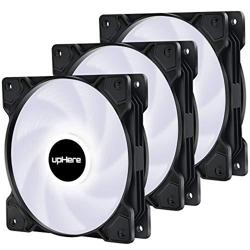 upHere 3-Pin 120mm Blanco LED Colorido-Rainbow LED Ventilador para Caja de Ordenador, Silencioso -Paquete de 3(SR12-WT3-3)