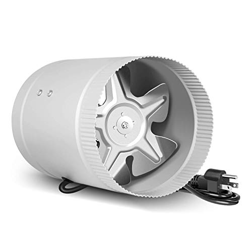 """iPower Silent 6 inch Booster Fan 174 CFM Quiet Inline Duct HVAC Exhaust Vent Blower, Low Noise, 6"""", Silver"""