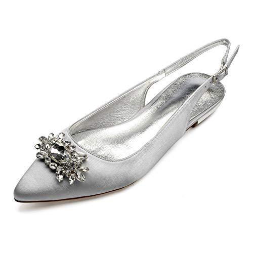 Zapatos De Boda para Mujer De Satén Planos Bailarinas Punta Cerrada con...