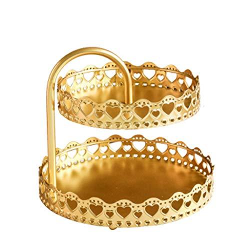 Bingxue Plato de Fruta de Doble Capa nórdico Bandeja de Almacenamiento de cosméticos Pendientes de joyería Soporte de exhibición Organizador de Soporte