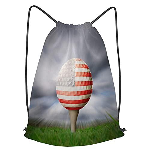 Bolsas de Cordones Cadena Mochila Pelota de Golf de Bandera Americana Bolsa de Asas Bolsa de cincha Bolsas Deportivas para Gimnasio Viajar