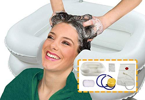 Scopri offerta per OrtoPrime - Lavatesta gonfiabile con tubo di drenaggio, lavatesta portatile, parrucchiere con gonfiatore, lavabo per capelli, vasca gonfiabile per letto e sedia, kit completo