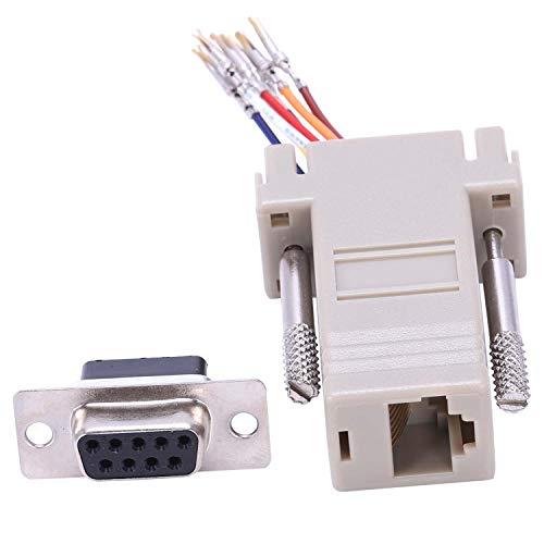 Gaoominy Conector Adaptador RS232 DB9 Hembra a RJ45 Hembra F/F Modular