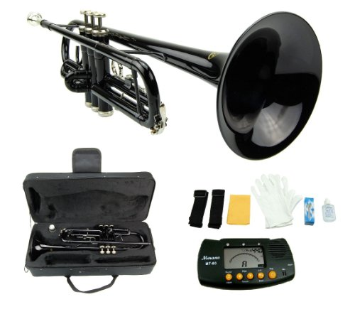Merano 661881 B Flat BLACK/Silver Trumpet with...