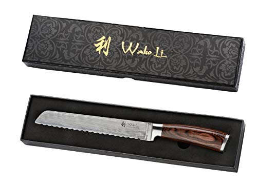 Wakoli Edib Damastmesser Brotmesser Klinge 20,50 cm Länge - sehr hochwertiges Profi Brotmesser mit Damastklinge und Pakkaholzgriff, Küchenmesser, Kochmesser