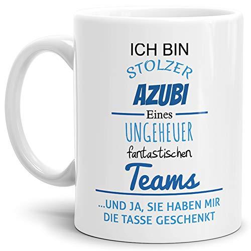 Tasse mit Spruch Stolzer Azubi Eines Ungeheuer Fantastischen Teams Weiss - Abschieds-Geschenk/Büro/Arbeit