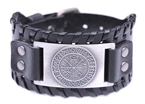 Teamer - Braccialetto in pelle vintage in stile nordico e vichingo, con 24 rune e simbolo islandese Vegvisir per fortuna e benedizioni e Lega, colore: Antique Silver,black