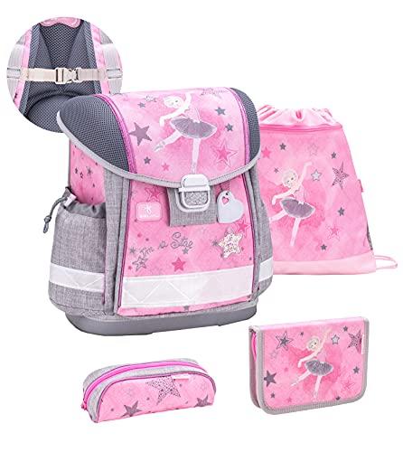 Belmil ergonomischer Schulranzen Set 4-teilig mit Brustgurt/Mädchen 1. klasse 2. klasse 3. klasse - Super Leicht 860-950 g/Ballerina/Rosa, Grau (403-13/S/C Pink Ballerina)