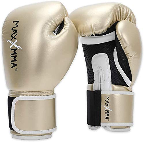 MaxxMMA Pro Style Boxing Gloves for Men & Women, Training Heavy Bag Workout Mitts Muay Thai Sparring Kickboxing Punching Bagwork Fight Gloves (Pink Gold, 10 oz.)