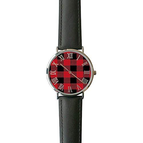 Buffalo Check Plaid Casual Watch Fashion Orologi da polso analogici in pelle per uomo e donna.
