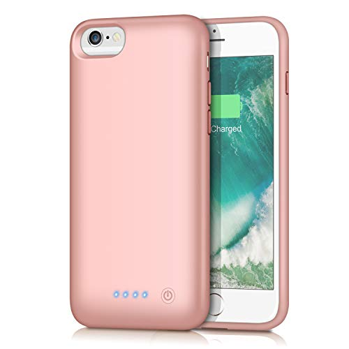 Cover Batteria per iPhone 6/6S/7/8/SE 2020, Trswyop 【6000mAh Alta Capacità】Ricaricabile Custodia Batteria Cover Caricabatterie Batteria Esterna per iPhone 7/8/6/6s [4.7'']-Rose Gold