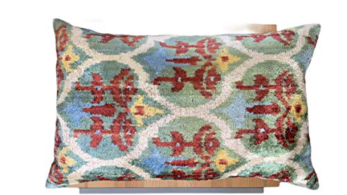 IKAT Cushion 60cm x 40cm, Velvet and Silk with feather insert included in the price (Velvet and Silk)