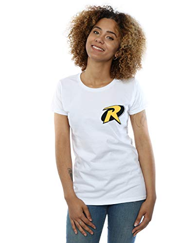 DC Comics Mujer Batman Robin Logo Camiseta Blanco Medium