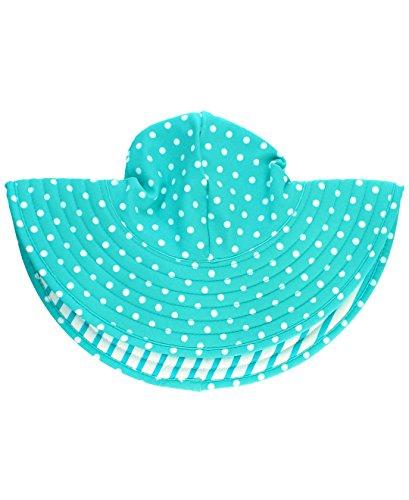 RuffleButts Baby/Toddler Girls Aqua Polka Dot and Aqua Stripe Reversible Swim Hat - 12m-2T
