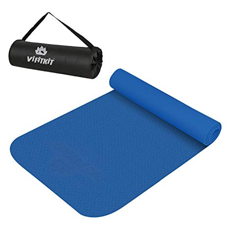 VIFITKIT® Yoga Mat Anti Skid EVA Yoga mat with Bag for Gym Workout and Flooring Exercise Long Size Yoga Mat for Men and Women (Blue 3mm) (Make in India)