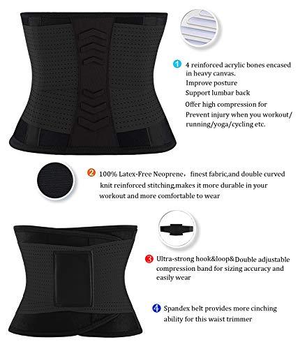 VENUZOR Waist Trainer Belt for Women - Waist Cincher Trimmer - Slimming Body Shaper Belt - Sport Girdle Belt (UP Graded) (Z1-Black, L)