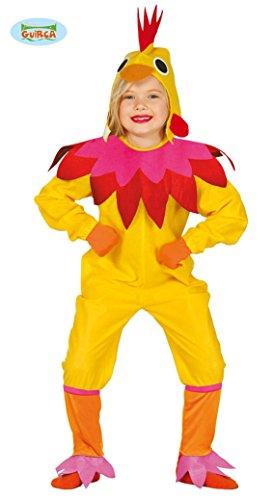 Guirca Huhn Kostüm für Kinder Hühnerkostüm Mädchen Henne Hahn Vogel Tier Bauernhof Gr. 98-146, Größe:122/128
