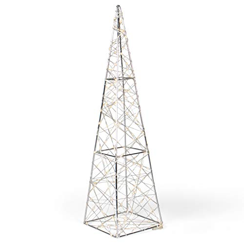SnowEra LED Dekorationsleuchte in warmweiß | Weihnachtsbeleuchtung aus Metall in Pyramidenform | Höhe: 60 cm | Weihnachtsdeko für innen | Leuchtpyramide inkl. Micro Lichterkette mit 140 LEDs