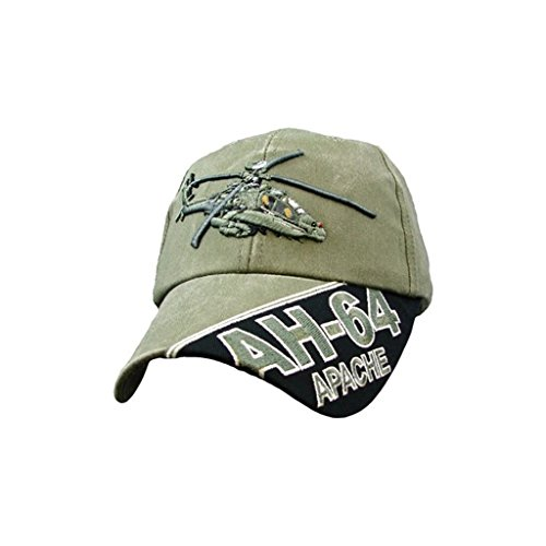 US Army AH-64 Apache Helicopter Green Adjustable Baseball Cap