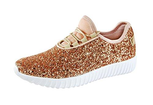 ROXY-ROSE Women Fashion Glitter Sneaker Walking Shoes (8 .5 B(M) US, Rose Gold)