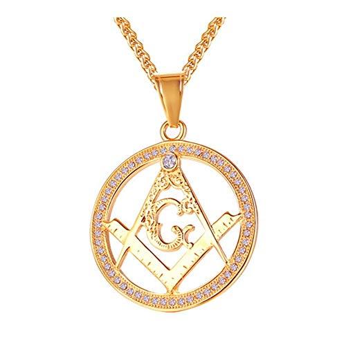 AdorabFruit Présent Pendentif Color Oro masónico Collar de Hielo Fuera Completa Punky de los Colgantes for los Hombres joyería (Color : 60cm, Size : Gold)
