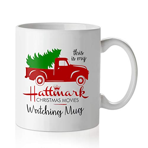 Christmas Movie Watching Mug Red Pickup Truck Coffee Cup Birthday Winter Holiday Gifts