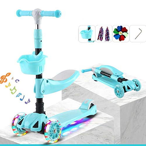 Utaomld 3 Wheel Kids Scooter,Kick Scooter with Removable Seat,Basket for Boys Kids,Adjustable Height,Built in Music,LED Light Up Wheels,Sit or Stand Ride with Brake for Kids 1-14 Years Old,Turquoise