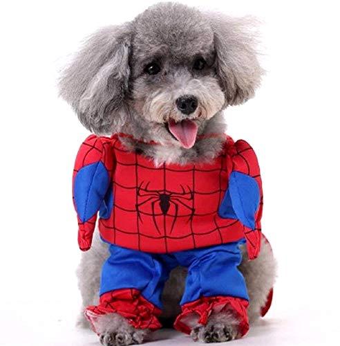 Lovelegis Disfraz de Spiderman - Spiderman - Perro - l - Idea de Regalo para Navidad y cumpleaos