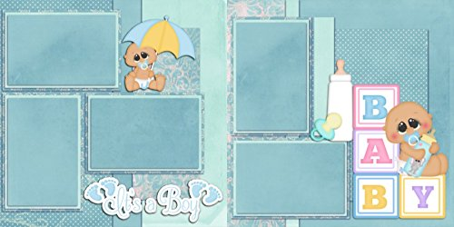 NEW BABY BOY - Premade Scrapbook Pages - EZ Layout 45