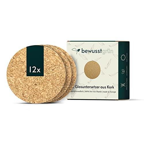 BewusstGrün - 12 Korkuntersetzer rund, 10cm I Schadstofffrei & Made in EU I Natürlicher Oberflächenschutz für Gläser