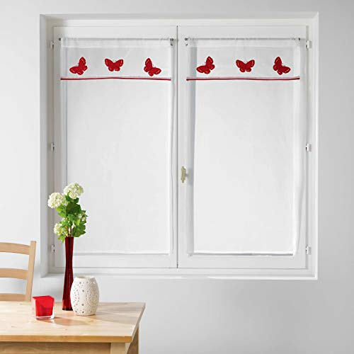 Le Jardin des Cigales 3003368 OPALINE Paire droite passe tringle Polyester Rouge 90 x 60 cm