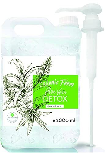 Suplemento alimenticio de Aloe Vera. Jugo Concentrado Orgánico Detox. Extra eficaz y con buen sabor. En botella de cristal con vaso medidor. (2000 ml)