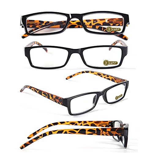 LUFF 4PACK Gafas de Lectura anti-luz azul - Gafas de Lectura Hombre Mujer Reduce la Fatiga Ocular, Gafas de Computadora Ligeras Para