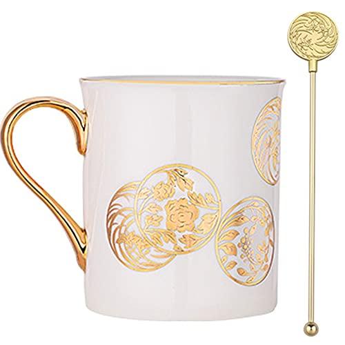 Tazas de café Juego cerámica de Estilo Chino, Taza de té de Porcelana con asa y Varilla agitadora para Tea Latte Cappuccino Espresso Beer Regalo para Amigos y Familiares (Color : Blanco)