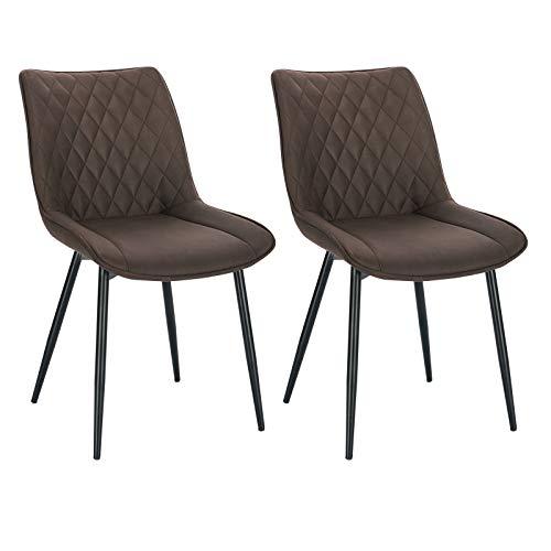 WOLTU Esszimmerstühle BH248dbr-2 2er Set Küchenstuhl Polsterstuhl Wohnzimmerstuhl Sessel mit Rückenlehne, Sitzfläche aus Stoffbezug, Metallbeine, Dunkelbraun
