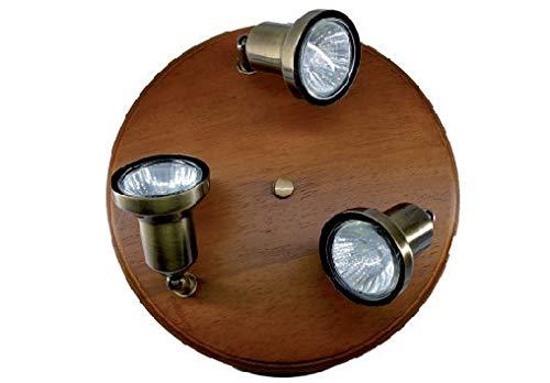 Plafón redondo de 3 lámparas sobre soporte color madera focos color latón impregnado focos incluidos