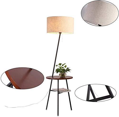 Innenbeleuchtung Japanischen Stil Holz Stehlampe Couchtischlampe Mit Regal Zum Sitzen Auf Der Couch Lesen EIN Papier/Buch, Schlafzimmer -413 (Farbe: Pfirsich Farbe)