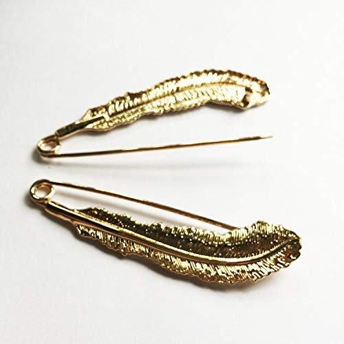 Buy Bargain Pincushions - Gold 2pcs/lot Length:9cm Feather Large Alloy Safety Pin-Big and Strong Eno...
