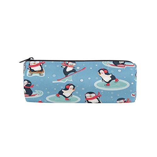 ahomy Bleistift Fällen Winter Pinguin Reißverschluss Bleistift Tasche Tasche für Mädchen und Jungen, Reisen Make-up Tasche für Frauen
