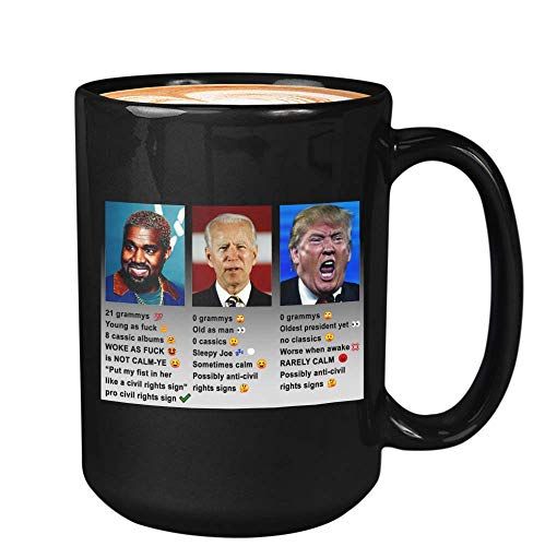 Kanye West Coffee Mug - Kanye West Joe Biden Donald Trump Comparison Usa Presidetial - Kanye West President Usa 2020 Kim Kardashian Yeezy Yeezus (15oz,Black)