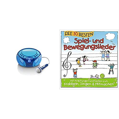 Lenco SCD-650 - Kinder CD-Player - CD-Radio - Karaoke Player - Stereoanlage - Boombox - CD/MP3 und USB Player - 2 x 2 W RMS-Leistung - Blau & Die 30 besten Spiel- und Bewegungslieder