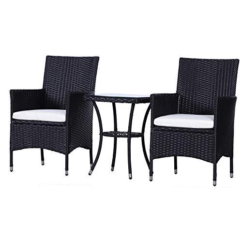 Outsunny Garden Outdoor Rattan Furniture Bistro Set 3 PCs Patio Weave Companion Chair Table Set Conservatory (Black)