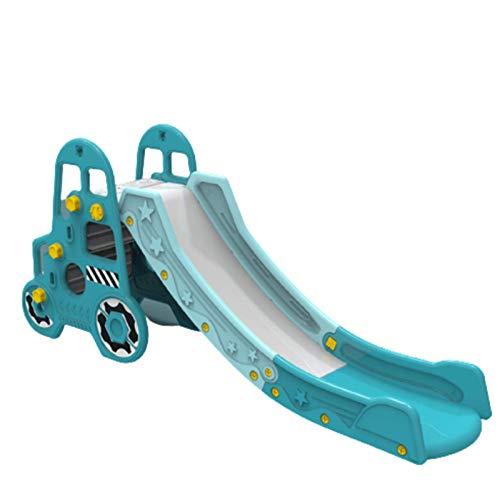 Rutsche Kinder klappbar Kunststoff Kleinkinderrutsche mit Basketball Korb Gartenrutsche mit Ruts chauslauf Drinnen und Draußen,Blue