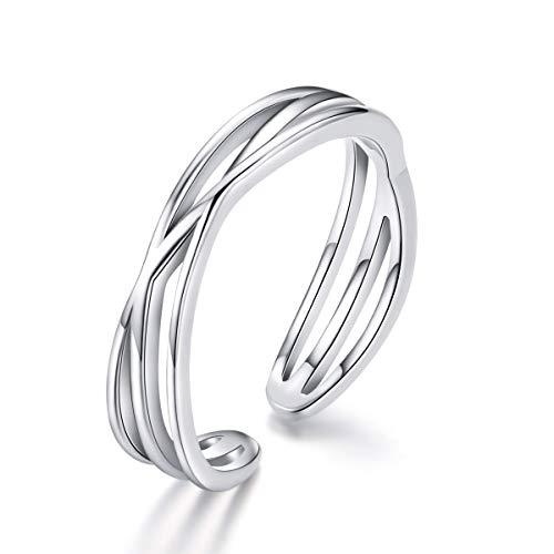 Kämise duim ring voor vrouwen mannen, 925 sterling zilver 3 lagen Keltische knoop open verstelbare unisex vinger ring, eeuwigheid belofte verlovingsringen voor man vrouw jongen meisjes vrienden met sieradendoos