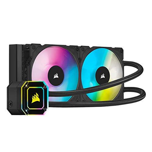 Corsair iCUE H100i ELITE CAPELLIX CPU-Flüssigkeitskühlung (33 Ultrahellen CAPELLIX RGB-LEDs, Zwei 120-mm-PWM-Lüfter der ML RGB, 400 bis 2.400 U/min, Inklusive Corsair iCUE Commander CORE) Schwarz