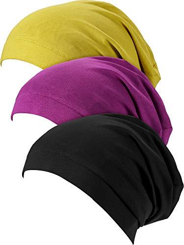 SATINIOR 3 Stücke Satin Gefüttert Schlaf Mütze Hut Slouchy Beanie Schlag Hut für Frauen (Schwarz, Gelb, Lila)